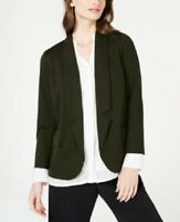 Alfani Women's PP Petite Notch-Collar Open Front Blazer Jacket, Green, $100, NwT