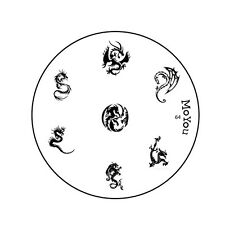 Moyou Stamping Nail Art imagen Placa 64 Dragones Hazlo tú mismo Manicura