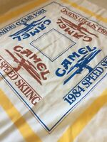 Vintage Camel 1984 Speed Skiing Bandana Handkerchief Scarf White Blue 80s USA