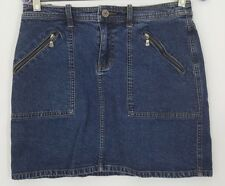 CALVIN KLEIN Womens Jean Mini Skirt Size 5 Zipper Pockets Medium Wash Denim