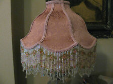 """Victorian French Large Floor Table Lamp Shade Poppy """" Rose"""" Bead  Fringe"""