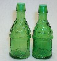 Green Glass Salt and Pepper Shaker Set