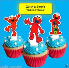 #630. Elmo edible wafer Cupcake Cake Toppers Birthday Boy Girl Sesame Street