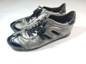 Cesare Paciotti 4US Shoes Leather Silver/Black GU 1 6 Size 6 7 8 9 10 see pics