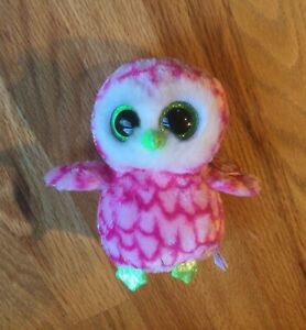 """Ty BUBBLY Pink Owl Beanie Boo - 6"""" Claire's Exclusive MWMTs"""