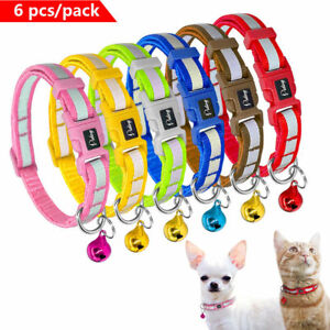 6/12/24pcs Reflective Pet Puppy Cat Kitten Small Dog Collar with Bell Chihuahua