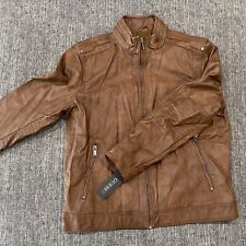 Guess NEW Men's Faux Leather Jacket Brown Casual Size XL