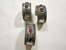 3 WHOLESALE LOT HANDMADE INDIA  NEPALESE SILVER AGATE BRACELET CUFF : SET OF 3