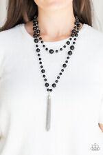 Paparazzi Jewelry bubbly black beads silver tassel Necklace w Earrings