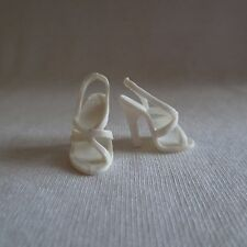 2 Pairs Barbie Top Model Resort Doll White Strappy Sandals ~ Model Muse Shoes