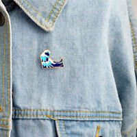 Simple Cartoon Girl Sea Wave Enamel Collar Pins Badge Corsage Brooch JewelryNQZY