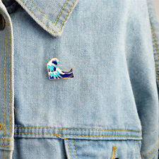 Simple Cartoon Girl Sea Wave Enamel Collar Pins Badge Corsage Brooch Jewelry Pip