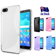 S Curve S Line Soft Gel TPU Shockproof Case Cover For Huawei Y5 2018