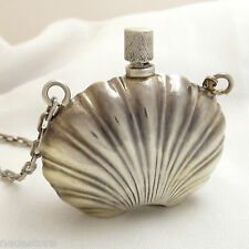 """Vintage Sterling Silver Chatelaine Shell Perfume Bottle 24"""" Necklace Mexico"""