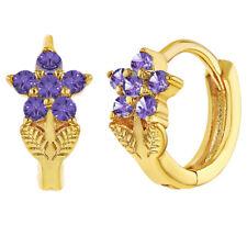 18k Gold Plated Flower Purple Crystal Small Hoop Huggie Kids Girls Earrings 8mm
