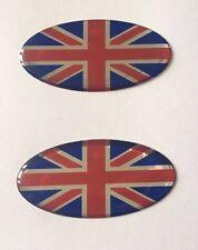 2 x 50 mm Ovale Bandiera Union Jack Adesivo/Adesivo-Rosso Cromo Blu-Lucido a CUPOLA Gel