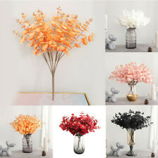 Flower Plants Eucalyptus Home Decor Artificial Wedding Party 5 Twigs 20 Heads