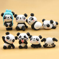 8 pcs/lot Super Cute Panda Action Figures Cartoon Toys Kids DIY Decor Figures