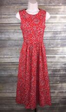 Vintage Petite Lanz Tea Dress Sz 6 Red Open Back Sleeveless Midi Fit & Flare Red