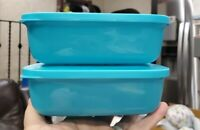 New TUPPERWARE Rectangular Lunch Mate Containers 17 OZ Set of 2 FREE US SHIPPING