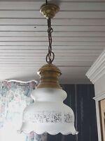 VINTAGE FRENCH  CEILING FIXTURE PENDANT LAMP CHANDELIER - OPALINE GLASS & BRASS