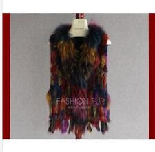 100% Real Rabbit /Real fur Vest Waistcoat Jacket Coat Warm Multicolor Fashion