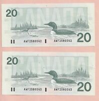 2 x Sequential 1991 $20 Bank of Canada Knight Thiessen CH-UNC