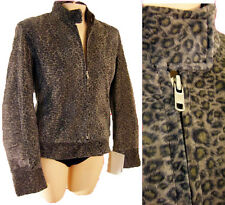 Leopard suede LEATHER biker cafe racing jacket riding M vespa faux fur fitted