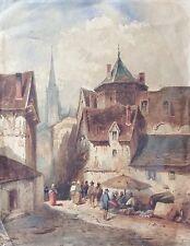 Pays de la Loire ou Bretagne  ville vers 1850 Aquarelle XIXe néo Gothique