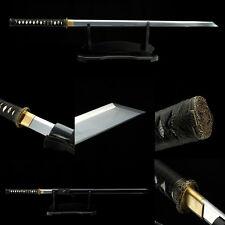 Handmade Japanese Ninja Sword Black Straight Blade Kiriha Zukuri Chokuto Ninjato