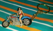 HOOTERS RESTAURANT SEXY BLACK HAIR MOTORCYCLE GIRL COLLECTIBLE KEYCHAIN RARE