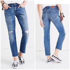 Madewell The Slim Boyfriend Raw Hem Edition Distressed Jeans Size 25x26