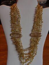 """Necklace - Brazilian Citrine Multi Strand Silvertone 20"""""""
