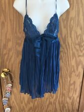 Victoria's Secret Pleated Lace Babydoll Blue Satin Ribbon Silk Panty M NWOT