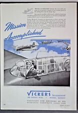 1943 WW2 WWII Vickers Hydraulic Control Aircraft Industry Parts Vintage Print Ad