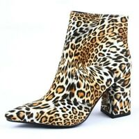 Women's Leopard Print Ankle Boots Pointed Toe High Heels Zip Party Shoes Plus Sz