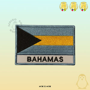 Bahamas National Flag With Name Embroidered Iron On Sew On Patch Badge