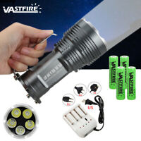 35W 10000Lm 5x T6 LED Flashlight Torch Searchlight 5 Mode Camping Lamp 4x18650