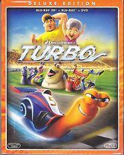 Blu-ray 3D + Blu-ray 2D + Dvd «TURBO» DreamWorks nuovo slipcase 2013