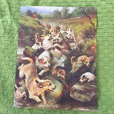 Vintage 1920s Otterhound & Rare Breed Sealyham Terrier Otter Hunt Dog Print