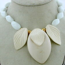 Retro White Bead Necklace with 3 Leaf Charms
