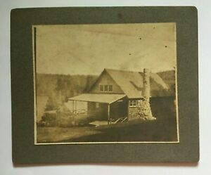 Antique Cabinet Card Photo Cabin on a Lake or Pond 1800's