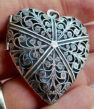 NWT Catherine Popesco Large French Heart Vintage Silver Locket Mother's Day