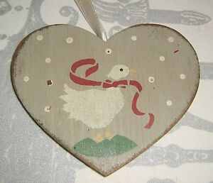 Hand Painted Stenciled PRIMITIVE COUNTRY Wood Heart VALENTINES Goose ORNAMENT