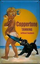 Carte postale métal/mini plaque Coppertone Suntan publicité rétro 110mm x 80mm