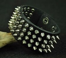 Sliver Rivet Rock Punk Sharp Metal Studded Leather Wristband Bracelet Cuff Black