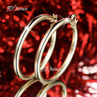 18K GF 18CT YELLOW GOLD FILLED THICK HOOP EARRINGS 30MM 40MM 50MM ROUND HOOPS