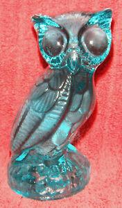 """Mosser aqua blue glass owl, mint cond., 4.25"""" tall"""