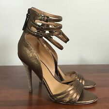 Nine West Vintage America Collection Vaannie Stiletto Heels Sandals 7 M Bronze