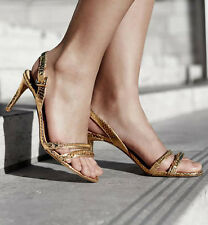MK Michael Kors Chic Dressy Snake Gold Chain Open Toe Strappy Sandal Heel SZ 7